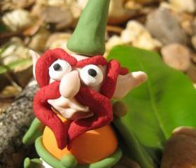 Gnomey the Red - Gnome polymer clay figurine