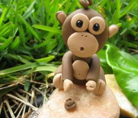 Mon Chee Chee - Polymer clay chimpanzee figurine