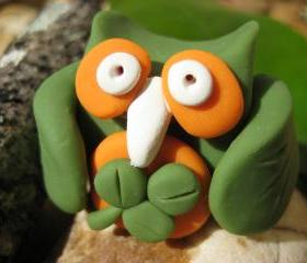 Lucky the Owl - St. Patrick's Day themed polymer clay figurine