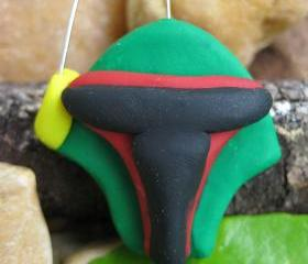 Boba Fett inspired Polymer clay pendant charm, ornament, cell phone charm
